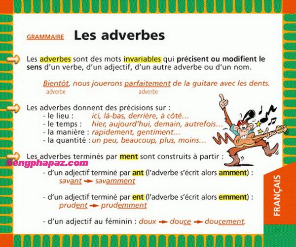 Cách thành lập và cách sử dụng trạng từ trong tiếng Pháp - Học tiếng Pháp online