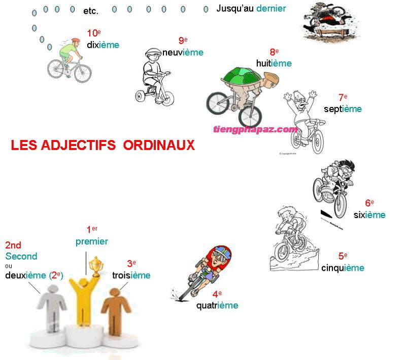 Cách sử dụng số thứ tự trong tiếng Pháp: Danh từ và tính từ chỉ thứ tự